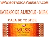 INCIENSO DE ALMISCLE ---MUSK  CAJA DE 72 STICK