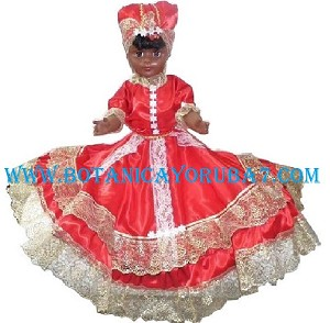"MUNECA VESTIDA EN SATIN ROJO 2' 7"" HIGH"